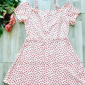 Peppermint | NWOT Kitty Print Fit and Flare Dress